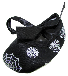 Black Spiderweb Holiday Crib Shoes