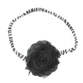 Black Shabby Flower on Zebra Skinny Headband