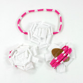 White Cotton Flower on Hot Pink White Dot Skinny Headband with Shoes