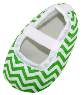 Lime Green Chevron Crib Shoes