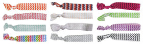 Assorted Chevron Fold Over Elastic Hair Ties