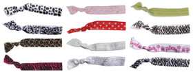 Assorted Patterns Fold Over Elastic Hair Ties