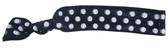 Navy White Dot Fold Over Elastic Hair Ties