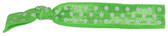 Lime Green White Dot Fold Over Elastic Hair Ties