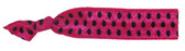 Hot Pink Black Dot Fold Over Elastic Hair Ties