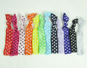 Assorted Polka Dot Fold Over Elastic Hair Ties