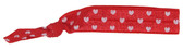 Red White Hearts Fold Over Elastic Hair Ties