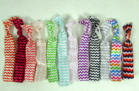 Assorted Chevron Colors Fold Over Elastic Hair Ties