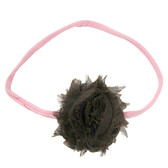 Brown Shabby Flower on Light Pink Skinny Headband