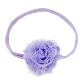 Lavender Shabby Flower on Lavender Skinny Headband