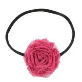 Hot Pink Shabby Flower on Black Skinny Headband
