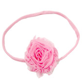 Light Pink Shabby Flower on Light Pink Skinny Headband