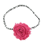 Hot Pink Shabby Flower on Zebra Skinny Headband