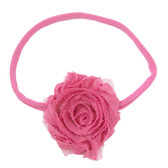 Hot Pink Shabby Flower on Hot Pink Skinny Headband