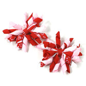 Red, White & Pink Curly Mini Korker Bows