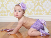 Lavender Multi Flower on Fold Over Elastic Headband