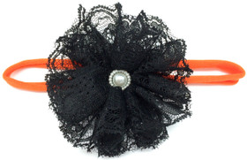 Orange Skinny Headband with Black Lace Flower
