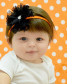 Black Lace Flower on Orange Skinny Headband