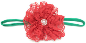Red Lace Flower on Green Skinny Headband