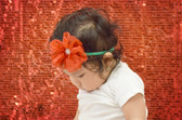 Lace Flower Headband Red on Green Skinny Cotton Headband