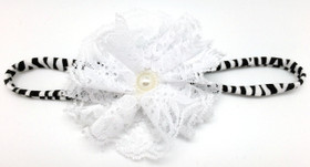 White Lace Flower on Zebra Skinny Headband