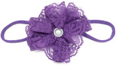Purple Lace Flower on Purple Skinny Headband