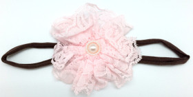 Light Pink Lace Flower on Brown Skinny Headband