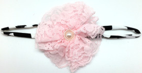 Light Pink Lace Flower on Cow Skinny Headband