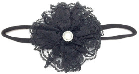 Black Lace Flower on Black Skinny Headband