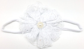 White Lace Flower on White Skinny Headband
