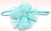 Aqua Lace Flower on Aqua Skinny Headband