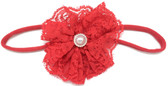Red Lace Flower on Red Skinny Headband
