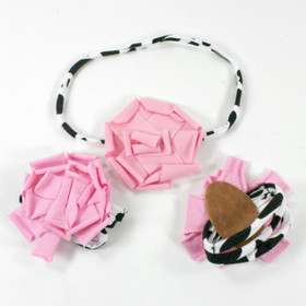 Light Pink Cotton Flower on Cow Skinny Headband with Shoes