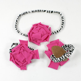 Hot Pink Cotton Flower on Zebra Skinny Headband with Shoes
