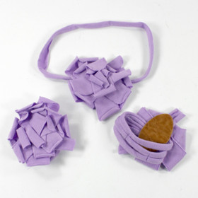 Lavender Cotton Flower on Lavender Skinny Headband with Shoes