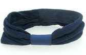 12 Navy Blue Nylon Headbands