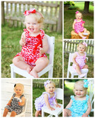 Red Chevron Satin Romper Baby Model