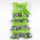 Zebra Lime Green Lace & Satin Romper