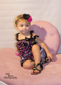 Hot Pink Hearts on Black Satin Ruffle Romper