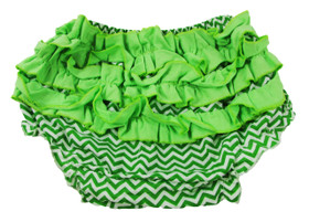 Green Chevron Diaper Cover with Ruffles