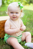 Chevron Print Diaper Cover with Ruffles Green