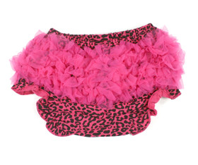 Hot Pink Leopard Diaper Cover with Hot Pink Chiffon Ruffles - Baby Clothes