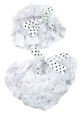 Tulle Bow Lace Hat and Diaper Cover Set White