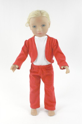 Red 3 Piece Doll Jacket and Pant Set