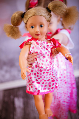 Pink with Hot Pink Hearts Doll Pillowcase Dress (Girl's dress available for purchase separately.)