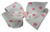 White with Pink Dots Girl Boutique Bows