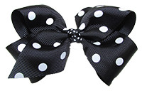 Black with White Dots Girl Boutique Bows