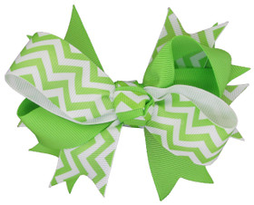 Lime Green Chevron Double Tied Bows