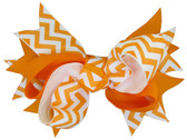 Orange Halloween Chevron Double Tied Bows