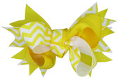 Yellow Chevron Double Tied Bows